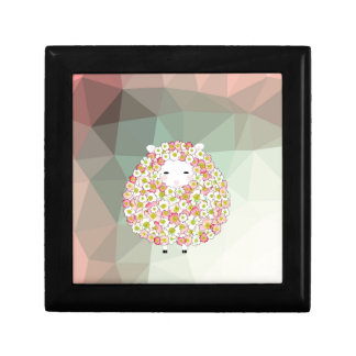 Pastel Tone Flowery Sheep Design Keepsake Box