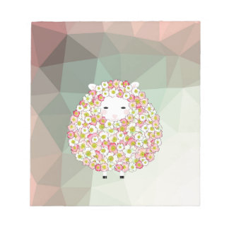 Pastel Tone Flowery Sheep Design Notepad