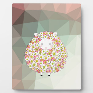 Pastel Tone Flowery Sheep Design Plaque