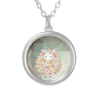 Pastel Tone Flowery Sheep Design Silver Plated Necklace