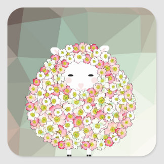 Pastel Tone Flowery Sheep Design Square Sticker