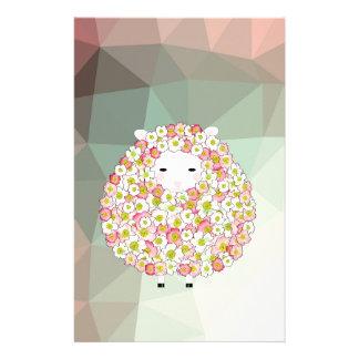 Pastel Tone Flowery Sheep Design Stationery