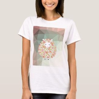 Pastel Tone Flowery Sheep Design T-Shirt