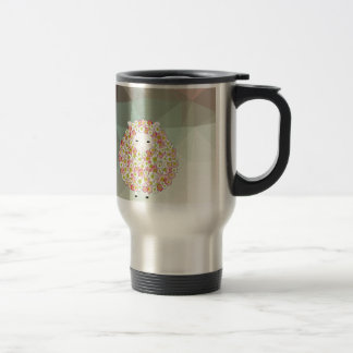 Pastel Tone Flowery Sheep Design Travel Mug