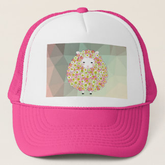 Pastel Tone Flowery Sheep Design Trucker Hat