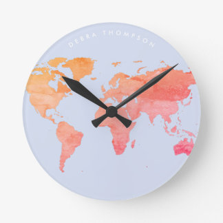 pastel tones map of the world round clock