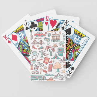Pastel Tourist Pattern Bicycle Playing Cards