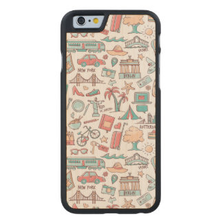 Pastel Tourist Pattern Carved Maple iPhone 6 Case