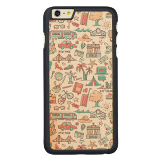 Pastel Tourist Pattern Carved Maple iPhone 6 Plus Case
