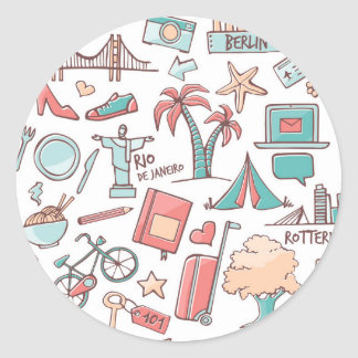 Pastel Tourist Pattern Classic Round Sticker