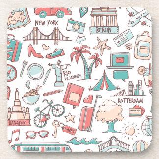 Pastel Tourist Pattern Coaster