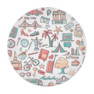 Pastel Tourist Pattern Cutting Board