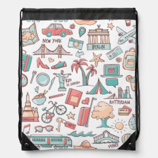 Pastel Tourist Pattern Drawstring Bag