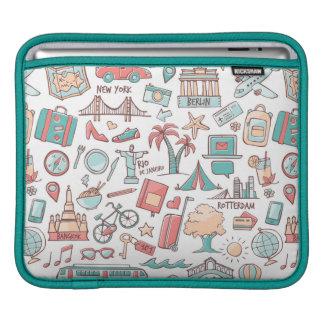 Pastel Tourist Pattern iPad Sleeve