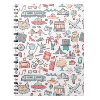 Pastel Tourist Pattern Notebook