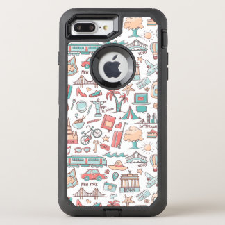 Pastel Tourist Pattern OtterBox Defender iPhone 8 Plus/7 Plus Case