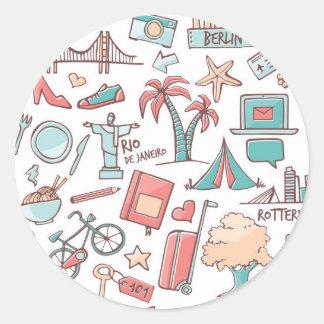 Pastel Tourist Pattern Round Sticker