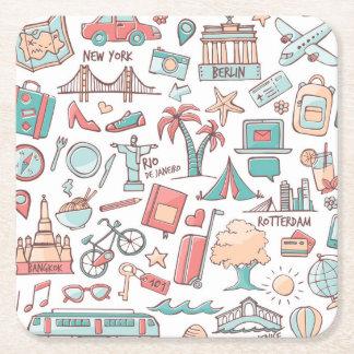 Pastel Tourist Pattern Square Paper Coaster
