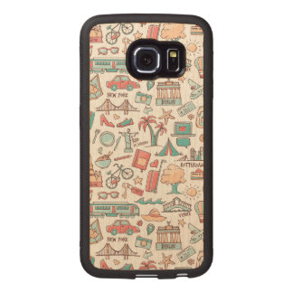 Pastel Tourist Pattern Wood Phone Case