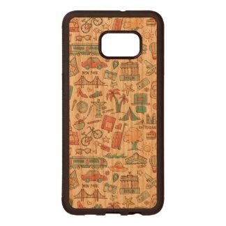 Pastel Tourist Pattern Wood Samsung Galaxy S6 Edge Case