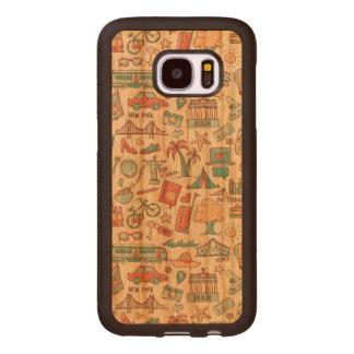 Pastel Tourist Pattern Wood Samsung Galaxy S7 Case