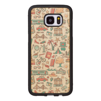 Pastel Tourist Pattern Wood Samsung Galaxy S7 Edge Case