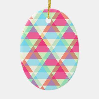 Pastel triangles ceramic ornament