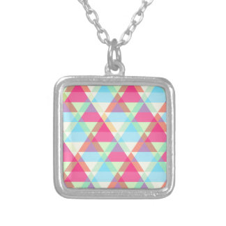 Pastel triangles silver plated necklace