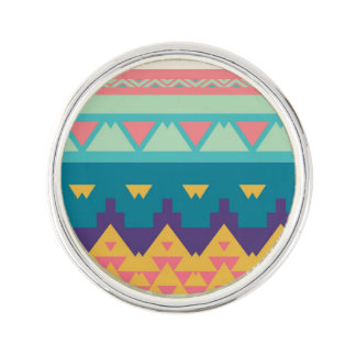 Pastel tribal abstract design lapel pin