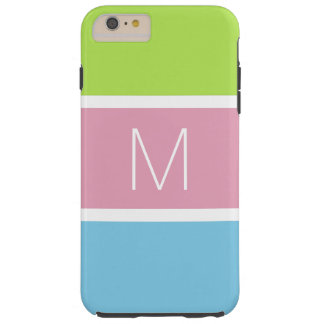 Pastel Tricolor Bold Bars with Monogram Tough iPhone 6 Plus Case