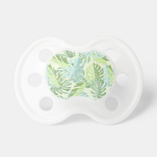 Pastel Tropical Palm Leaves Baby Pacifiers