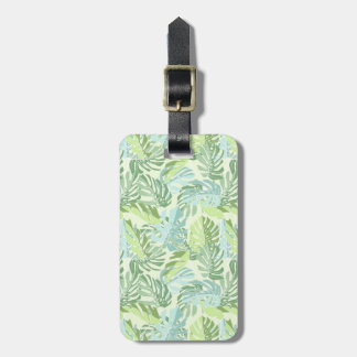 Pastel Tropical Palm Leaves Bag Tag