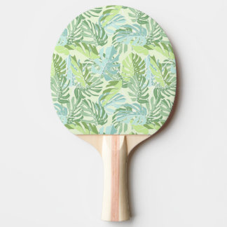 Pastel Tropical Palm Leaves Ping Pong Paddle