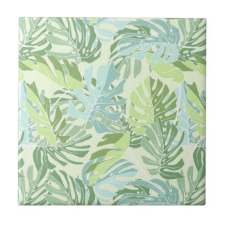 Pastel Tropical Palm Leaves Tile