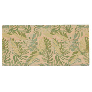 Pastel Tropical Palm Leaves Wood USB 2.0 Flash Drive