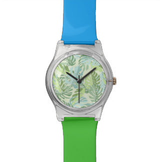 Pastel Tropical Palm Leaves Wrist Watches