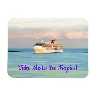 Pastel Tropical Sunrise and Cruise Ship Magnet