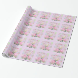 Pastel tulips and custom text wrapping paper