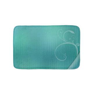 Pastel turquoise design bath mat