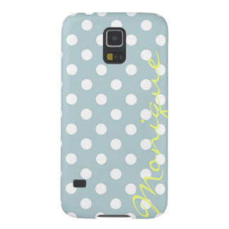 pastel turquoise & white dots with name galaxy s5 cases