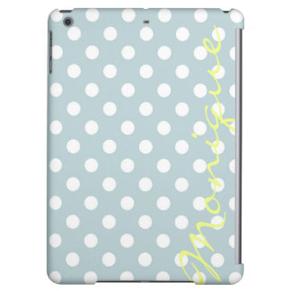 pastel turquoise & white dots with name iPad air case