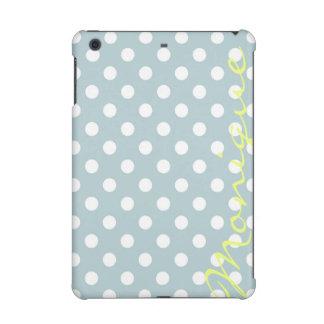 pastel turquoise & white dots with name iPad mini retina cases