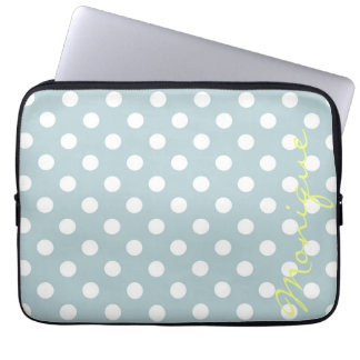 pastel turquoise & white dots with name laptop sleeve