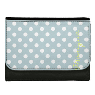 pastel turquoise & white dots with name wallet for women