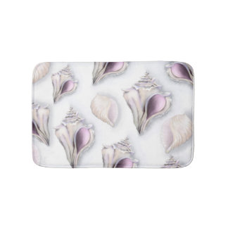 Pastel two seashell pattern bath mat