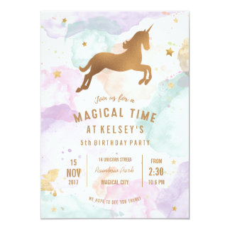 Pastel Unicorn Birthday Party Invitation