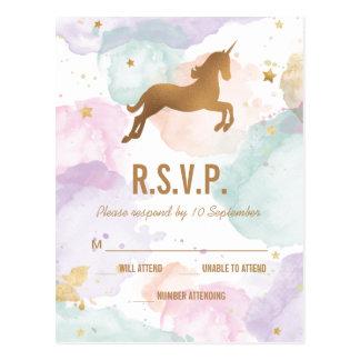 Pastel Unicorn Birthday Party RSVP Postcard