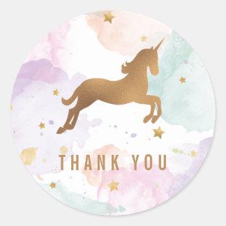 Pastel Unicorn Birthday Party Thank You Round Sticker
