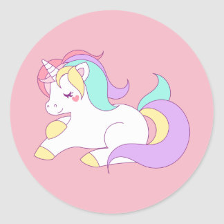 Pastel unicorn classic round sticker