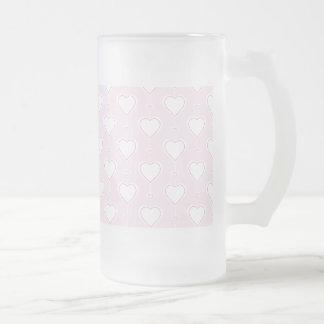 Pastel Valentine Hearts Frosted Glass Beer Mug
